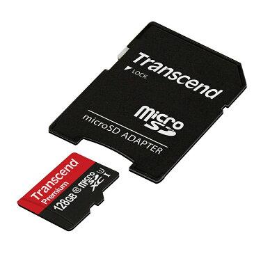 【店内全品ポイント5倍〜12/11(火)1:59まで】Transcend microSDカード 128GB Class10 UHS-1 5年保証 マイクロSD microSDXC SDアダプタ付 最大転送速度60MB/s 400x クラス10 入学 卒業[TS128GUSDU1]【ネコポス専用】【送料無料】