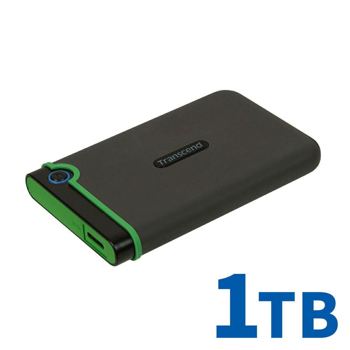 Transcend ポータブルHDD 1TB USB3.1 2.5インチ スリムポータブルHDD 耐衝撃 3年保証 ハードディスク 外付けHDD ポータブルハードディスク トランセンド StoreJet