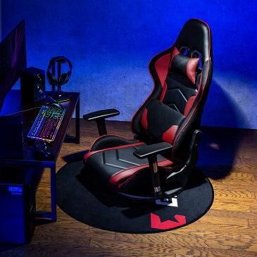 【送料無料】180度 リクライニング座椅子 360度回転 ハイバック バケットシート形状 ゲーミング座椅子 ブラック/レッド フロアチェア [150-SNCF005]