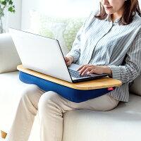 膝上クッションテーブル ノートパソコン タブレット ラップトップテーブル 木目調 ビーズクッション [200-HUS009]