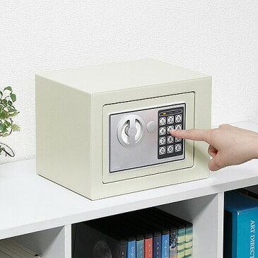小型電子金庫 テンキータイプ 容量5.2リットル 鍵付き 家庭用 店舗用 セキュリティ—対策 防犯・盗難防止 小型 コンパクト [200-SL039GY]