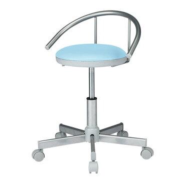 【送料無料】医療用 スツール 背もたれ付き ブルー 耐アルコールレザー 丸椅子 メディカルチェア [SNC-RD1VBL2]