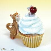 茶トラ猫ねこネコレトロアンティーク風カップケーキ猫とねずみ置物オブジェプレゼントギフトかわいいミニチュアEV14774A高さ約6.5cm