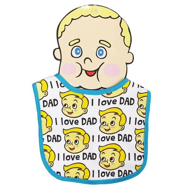 【メール便可】BABY BIB I LOVE DAD 【 赤ちゃん 赤ん坊 よだれかけ 綿素材 雑貨 日用品 】