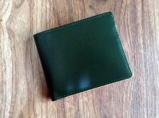 二つ折財布【送料無料】コードバン(馬尻革)×本ヌメ革カード札入れ二つ折財布(小銭入れ無し)