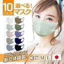 立体マスク 日本製 選べる 1色 3枚入り 送料無料 M L 洗える 選べる10色 立体型 立体縫製 男女 兼用 花粉 やわらかい 柔らかい 伸縮性 口元 付きにくい くっつかない 圧迫感 3D