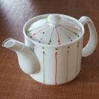 波佐見焼 軽やかポット 一珍色十草 レッド 茶漉し付き 和食器 緑茶 ほうじ茶 お茶