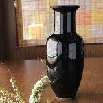 【アウトレット】黒筒型花瓶(高さ30.7cm)