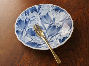 【アウトレット】渕フリル藍染花畑チューリップ皿 16cm [クリスマスセール]