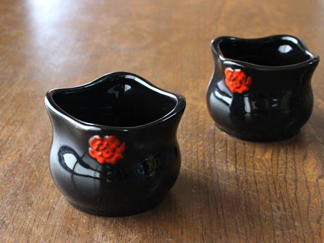 黒塗り花紋袋型ミニカップ