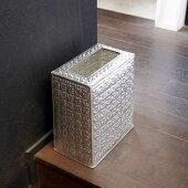 アルミ製のゴミ袋が隠せる四角いダストボックス【宅急便のみ】シルバーのカラーがどんなお部屋にも馴染みやすいゴミ箱インナー付き、アラベスク模様