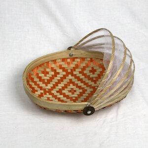 バンブー蓋付【格子柄】フードストッカー・オーバル(オレンジ・ダークブラウン)【メール便不可】バンブーを編んで作られたフードストッカー。食べかけの食事やお菓子などを虫やホコリから守ります!