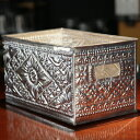 収納ボックスに、アルミアートが全面に施されたボックス・Sサイズ16.5cm×26cm 【メール便不可】アジアン・エスニック・アジアン雑貨 ・バリ・バリ雑貨・トレイ,sarara