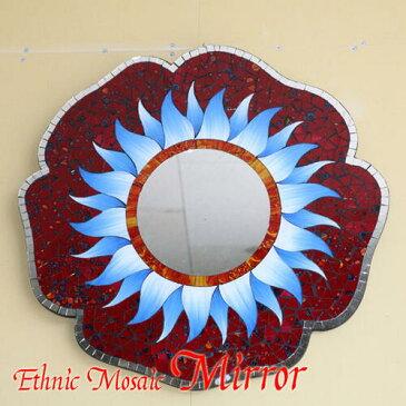 アジアン壁掛けモザイクミラー●お花直径50cm●フラワー(ブルー)【メール便不可】エスニックな雰囲気のモザイクミラー!鮮やかなお花の鏡。