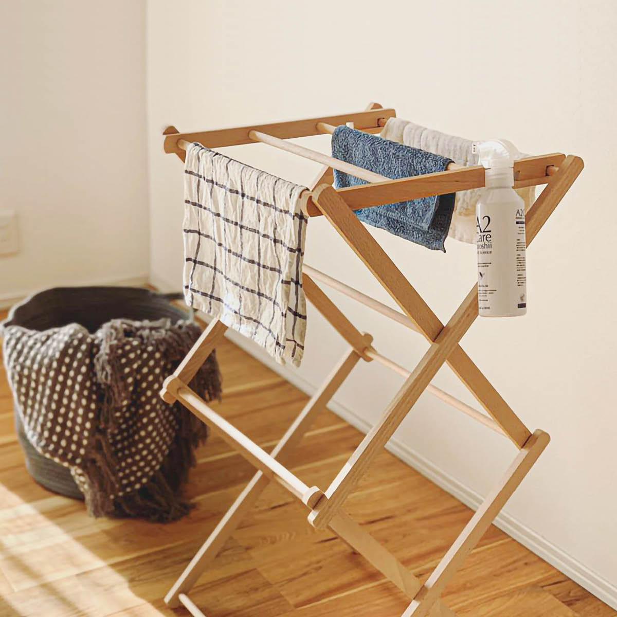 タオルハンガー 木製 折りたたみ [〈BIERTA ビエルタ〉クロスドライヤー-ミニ] 物干し タオル干し 部屋干し#SALE_LA