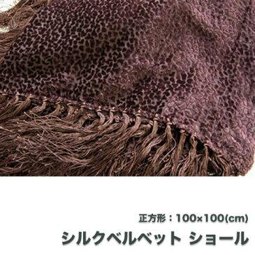 シルクベルベットショール(正方形)ブラウン/ビロード 結婚式 フォーマルドレス小物 ストール 民族衣装 秋物 冬物 茶色