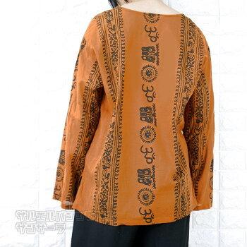 エスニックTシャツ長袖トップスメンズレディースユニセックスヒンディーヒンドゥー大きめサイズゆったりアジアンファッション