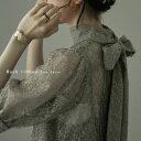 インナー付きバックリボンレースドレス ドレス ワンピース ワンピ オケージョン オケワンピ レース 五分袖 結婚式 二次会 パーティー 重ね着 レイヤード セット 透け感 ピンタック リボン ハイネック スタンドカラー フォーマル・・・