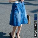 メール便送料無料 春 デニムスカート レディース 膝丈 ダメージ 台形 フレアスカート Aライン ウエストゴム 大きいサイズ LL 3L 4L ひざ丈 ゴム ジーンズ ヴィンテージデニム