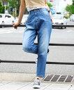 ゆるっと穿ける デニムサルエルパンツ レディース 大きいサイズ デニムパンツ デニムジーンズ S/M/L/LL/3L/4L ネイビー ブルー ワンウォッシュ ホワイト ワイド ゆるデニム WD-0121 送料無料