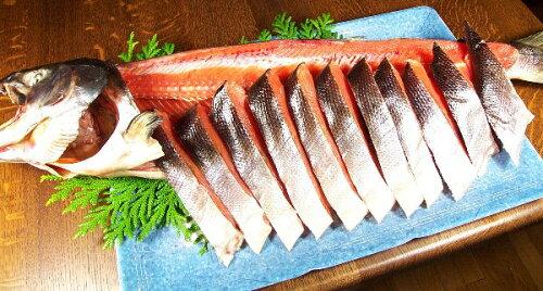 三陸産寒風干し新巻鮭切り身にして発送します。