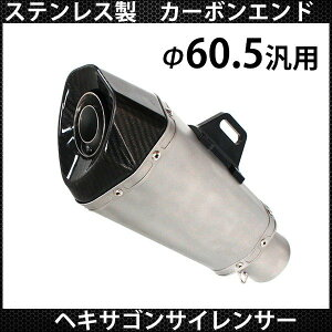 マフラー サイレンサー 60.5mm カーボンエンド ヘキサゴンサイレンサー 60.5φ 汎用 社外品 ステンレス製 カスタムパーツ 60.5パイ