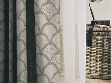 DESIGN LIFE 既製サイズ 遮光カーテン【サイズ:幅100cm×丈200cm】【1枚入り】メッツァ リッカ 日本製[グレー:V1281]ウォッシャブル