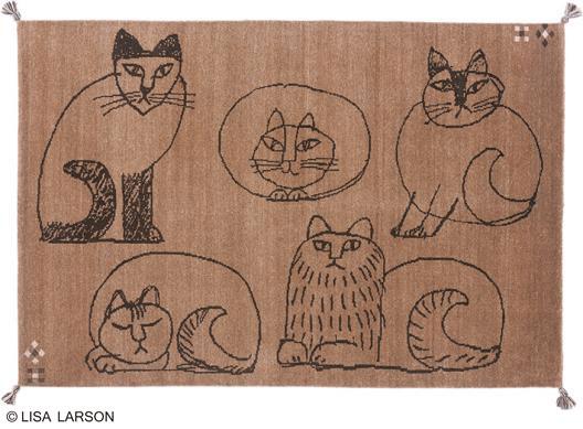 リサ・ラーソン スケッチ ギャベ ラグ マット【サイズ:約140cm×200cm】インド製デザイナーズブランド 【LISA LARSON】ウール100% 手織り ギャベ織物ラグマット カーペット 絨毯