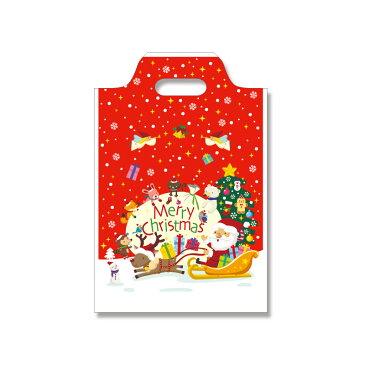 クリスマス手抜きポリ袋 ハンディバッグ 3S ハッピークリスマス 100枚