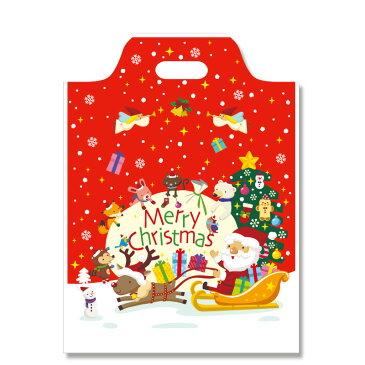 クリスマス手抜きポリ袋 ハンディバッグ M ハッピークリスマス 100枚