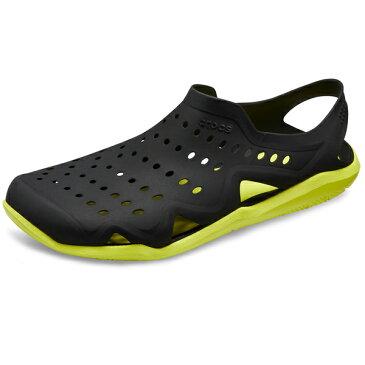 【2018新作】[メンズ] crocs swiftwater wave men スウィフトウォーター ウェーブメン Black/Tennis Ball Green