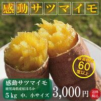 送料無料 感動さつまいも 5kg おまけ付きS・Mサイズ焼き芋 レシピ付 さつまいも 焼いも 非 冷凍 鹿児島県産 サツマイモ 甘い 紅はるか 蜜