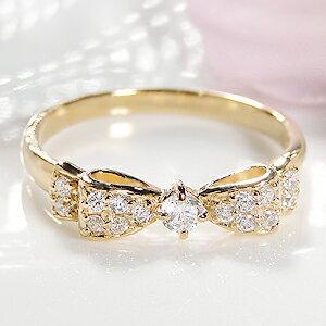 ジュエリー アクセサリー レディース リング・イエローゴールド・ダイヤモンド・ダイア・ パヴェリング・ プレゼント