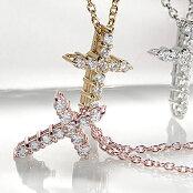K18WG/YG/PGクロスダイヤモンドネックレス