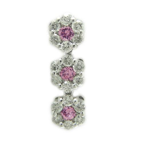 K18 ホワイト/ピンク/イエローゴールド ラペルピン ダイヤ ピンクサファイヤ ピンバッジ ピンブローチ ブローチ お花 誕生石:ジュエリーSAYAKA