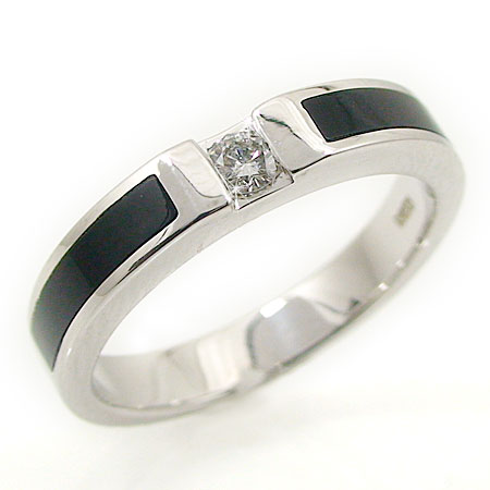 PT900 プラチナ オニキス ブラックカルセドニー ダイヤ リング 指輪 一粒石 シンプル 天然石 誕生石:ジュエリーSAYAKA