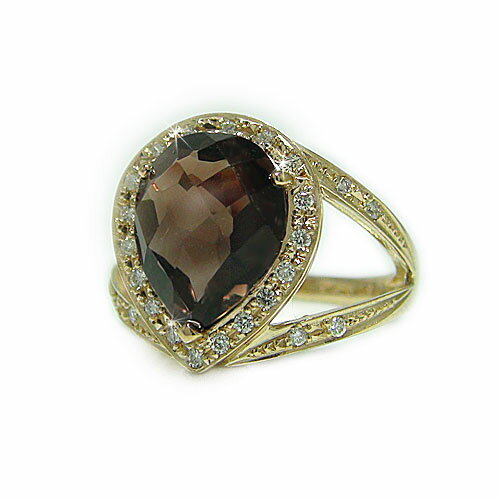 K18YG イエローゴールド ダイヤ ダイヤモンド 天然石 スモーキークォーツ 茶水晶 半貴石 ツユ型 ペアシェイプ リング 指輪