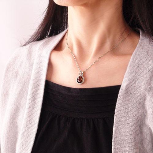 PT900 プラチナ スモーキークォーツ 茶水晶 ダイヤ ダイヤモンド 半貴石 天然石 ツユ型 ペアシェイプ 長さ調節 スライドアジャスター付 ペンダント ネックレス