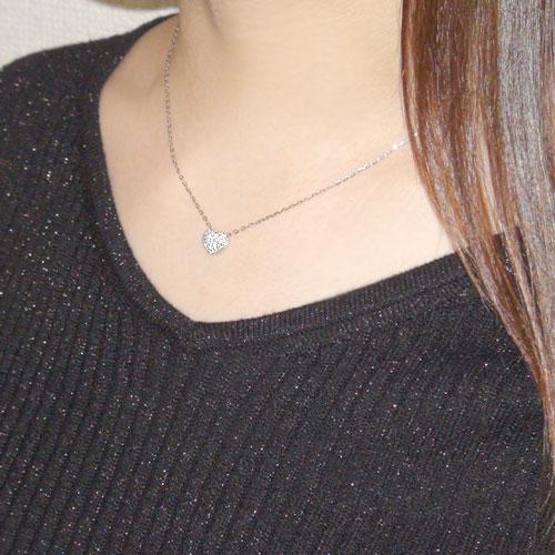 K18 ペンダント ダイヤ ネックレス ハート ぷっくりハート  ホワイト/ピンク/イエローゴールド 選べるゴールドカラー プレゼント