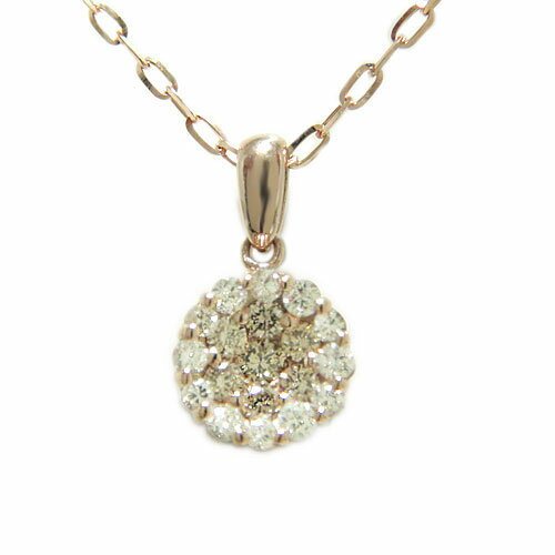 K18ピンク/イエロー/ホワイトゴールド ダイヤ ブラウンダイヤ ペンダント ネックレス 一粒石風 天然石 誕生石