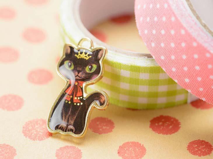 黒猫プリンセスのチャーム 猫型 ブラック