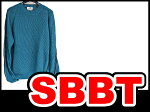【SBBT】エルメス服長袖サマーニット長袖セーターメンズ♯Lブルー×こげ茶麻100%×ヤギ革本物新品同様