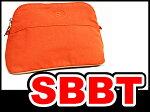 ●【HERMES】エルメスボリードポーチMM26オレンジ(テラコッタ)シルバー金具S金具コットン本物未使用展示品
