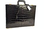 エルメスアタッシュケースビジネスバッグ黒ブラッククロコダイルポロサスゴールド金具G金具本物ヴィンテージA!
