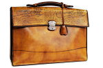 ベルルッティビジネスバッグブリーフケースエクリトワールカリグラフィブラウンヴェネチアンレザー書類バッグ本物ランクA