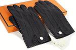エルメス手袋レザーグローブ♯81/2レザー(内側シルク)革黒ブラックセリエ金具シルバー金具S金具メンズ本物未使用!