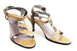 ●【HERMES】エルメスアンクルサンダルミュール♯361/223cm〜23.5cmリザード×レザーベージュレディース本物ランクA靴