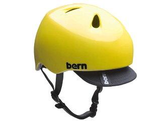 バーンbern-NINOニノ(Visor付)GlossYellowBE-VJBGYVツヤあり黄×黒自転車スケートボードBMXピストヘルメット