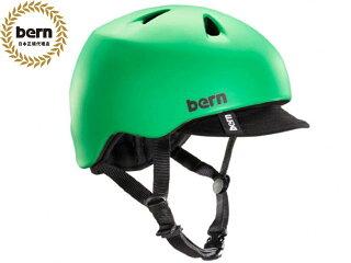 バーンbern-NINOニノ(Visor付)MatteKellyGreenBE-VJBMGV緑×黒自転車スケートボードBMXピストヘルメット