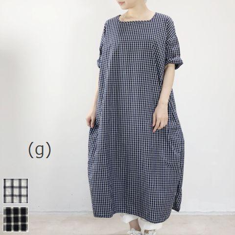 レディースファッション, ワンピース 10OFFP43622(Tue)20:00626(Sat )1:59 (g)SMALL LATTICE ONE PIECE 2colormade in Japan g-241b